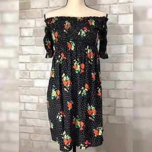 Trafaluc Polka Dot Floral Print Off Shoulder Dress